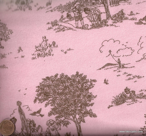 Cozy Cotton retro kids play pink brown toile flannel Kaufman