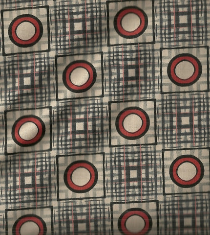 Dogma David Hearn gray red circle dots ITB fabric
