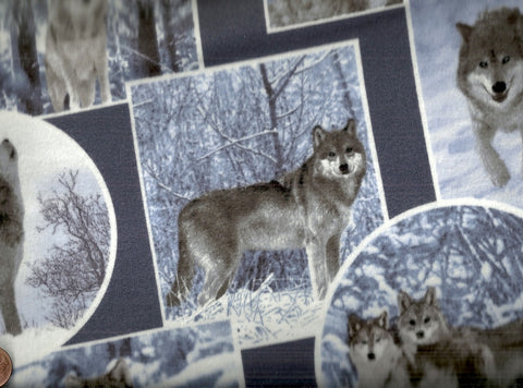 On the Wild Side wolves flannel wildlife fabric