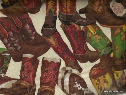 Round Up fancy cowboy boots western Fabri Quilt fabric