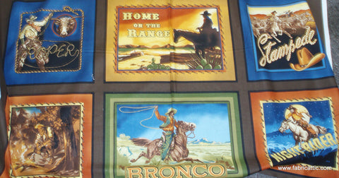 The Old West brown retro cowboys panel Kaufman fabric