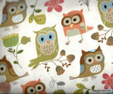 Woodland owls flowers Timeless Treasures flannel