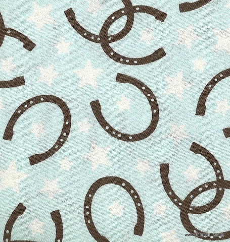 Roundup luck blue horseshoes Riley Blake western fabric