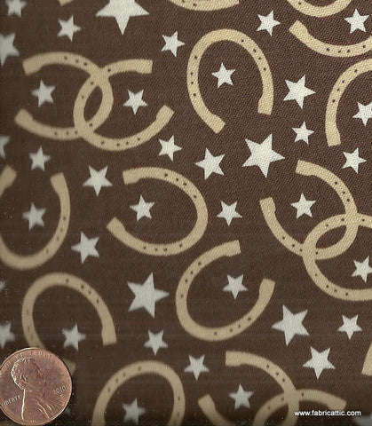 Roundup luck brown horseshoes Riley Blake western fabric