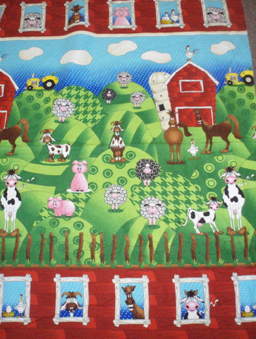 Farm at Whistlepig Creek RJR flannel panel animals fabric