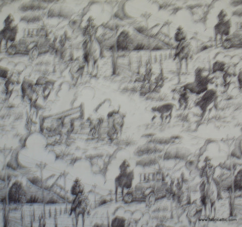 Rancho Toile western Alexander Henry black white fabric