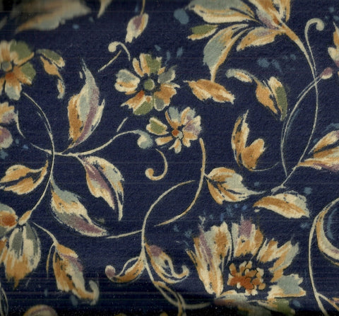 Navy tan gold flowers floral Timeless Treasures fabric
