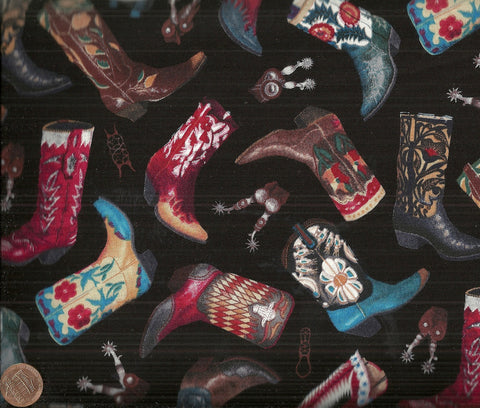 Home on a range Elizabeth Studio black cowboy boots western fabric