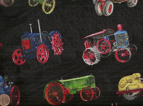 Vintage Tractors farm black Exclusively Quilters fabric