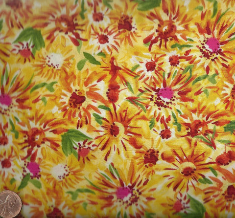 Pandora yellow red floral Timeless Treasures fabric