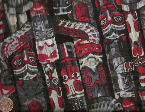 Totem black red Kanvas fabric