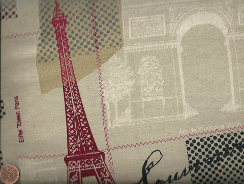 Paris linen Eiffel Tower tan cotton Timeless Treasures