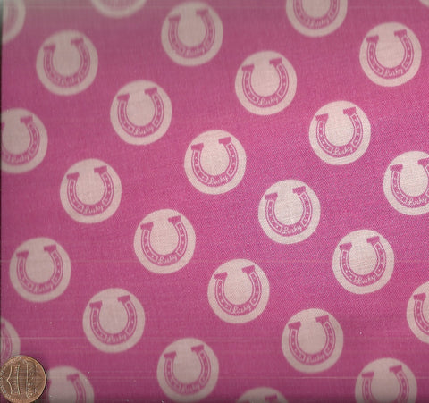 Derby Luck  pink horseshoes Riley Blake fabric