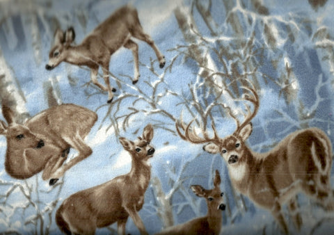 Majestic Moonlight deer wildlife snow trees flannel Timeless Treasures fabric