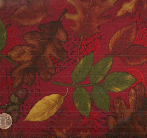 Autumn Leaves on Red Kaufman fabric