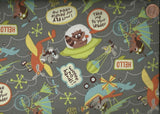 Riley Blake Little Flyers gray beep animals childrens fabric
