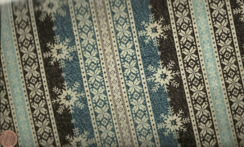 Ski Country winter snowflakes nordic stripe Benartex fabric