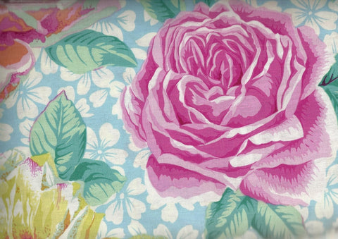 Rose Bloom large pink blue floral Rowan fabric