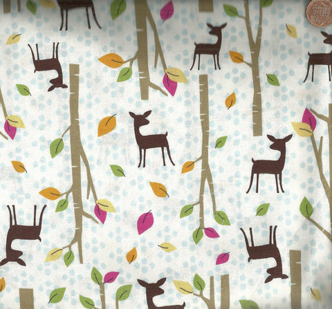 Deer in Woods children's woodland Timeless Treasures fabric