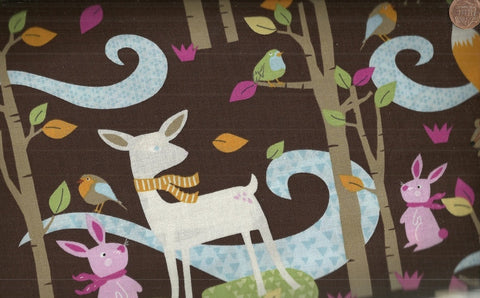 Woodland scenic deer fox brown Timeless Treasures fabric