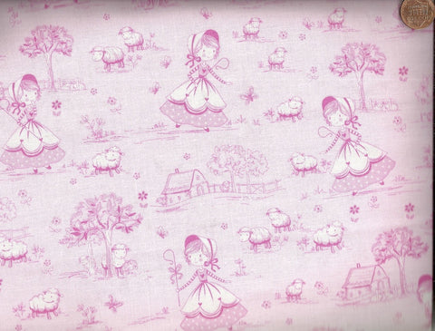 Nursery rhymes pink Bo Peep Timeless Treasures fabric