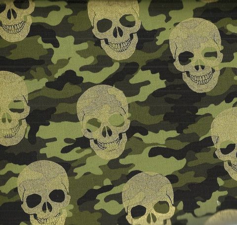 Metallic camo skulls Timeless Treasures fabric