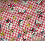 Boys Circa 1930s reproduction western kids red  Exclusively Quilters fabric