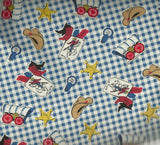 Boys Circa 1930s reproduction western blue Exclusively Quilters fabric