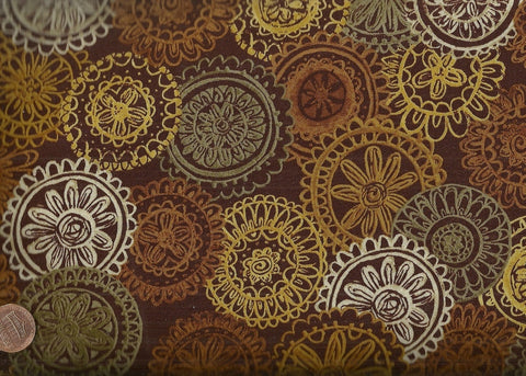 Chablis brown gold medallions Exclusively Quilters fabric
