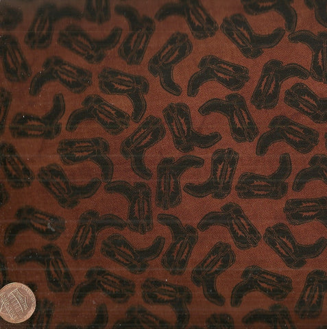 Western Essentials western brown cowboy boots Blank Quilting fabric