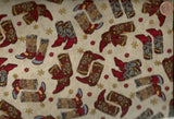 Hold em or Fold em western cowboy boots fabric cream Maywood Studios