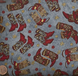 Hold em or Fold em western cowboy boots blue Maywood Studio fabric