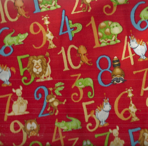 Numbers animals red Henry Glass fabric