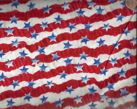 USA All the Way red white stripes blue stars patriotic Blank fabric