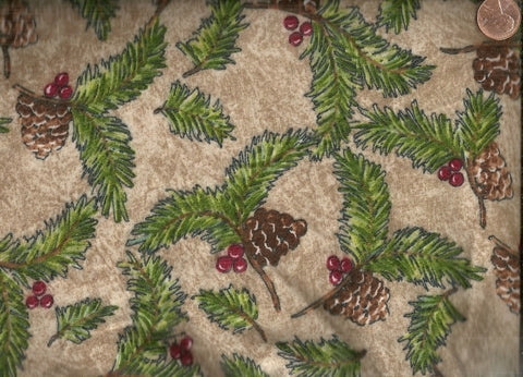 Rustic Retreat pine cones branches Riverwood flannel fabric