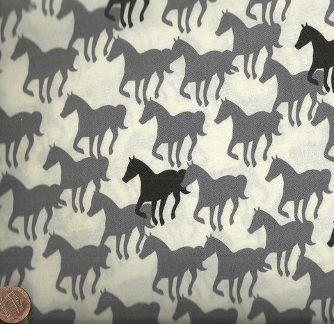 Equestrian horses gray black silhouettes fabric