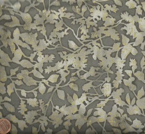 Winter White 2 metallic leaves gray Robert Kaufman fabric