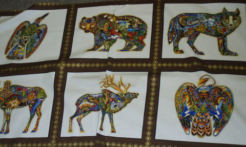Animal Spirits 2 wildlife panel metallic Kaufman fabric sold by the panel