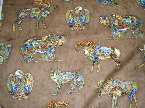 Animal Spirits 2 earth wildlife fabric Kaufman