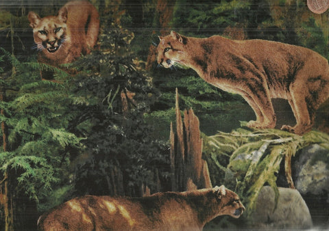 Wild Wings mountain lion forest prowler wildlife fabric