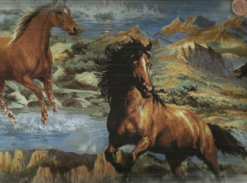 Wild Wings rhapsody west running horses fabric