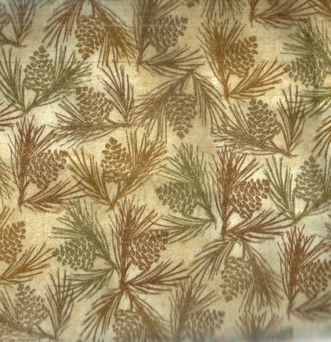 Wilderness tan pine cones flannel Clothworks fabric