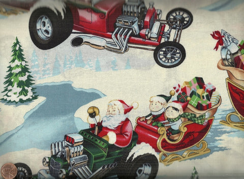 Hot Rod Holiday Christmas fabric brite