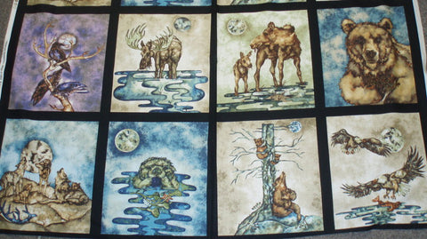Wildlife Expressions adventure panel bear eagle moose Kaufman fabric