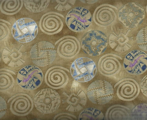 Southwestern medallions tan blue fabric Timeless Treasures