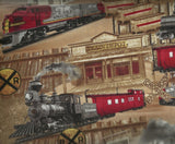 Train railroad vintage engine Timeless Treasures fabric