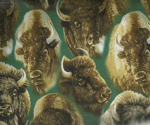 Where the Buffalo Roam forest green animals wildlife western Quilting Treasures fabric