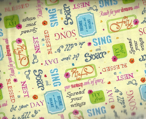 Blessed positive words sayings Quilting Treasures fabric