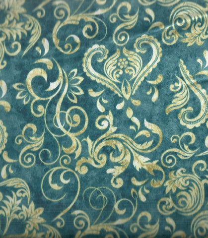 Unbridled teal scrolling western Quilting Treasures fabric