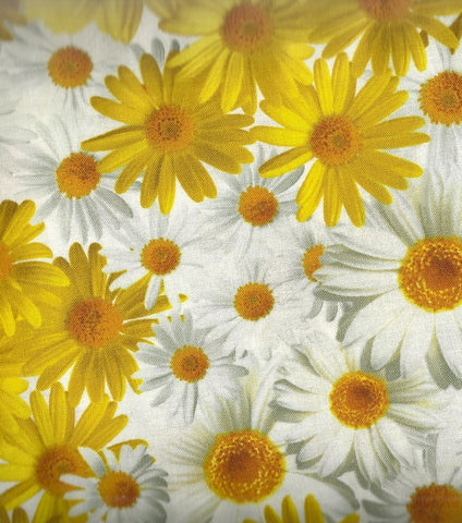 Oops a Daisy yellow white floral Kanvas fabric